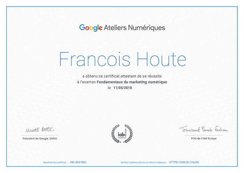 Certificat Google Marketing Numérique François Houte