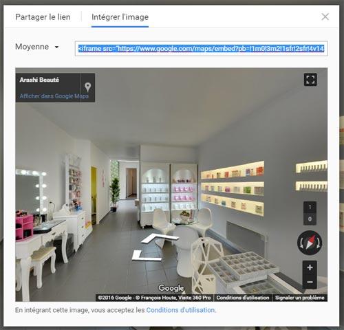 intégration de la visite virtuelle dans un site Internet étape 5