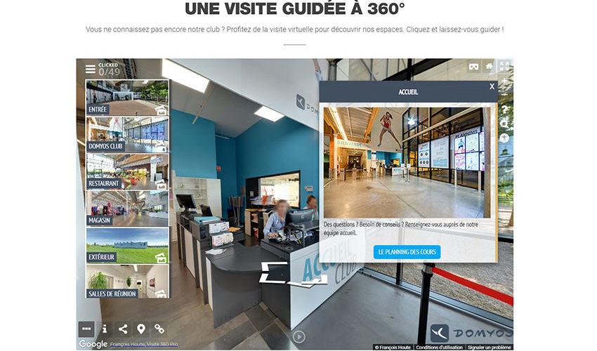 Visite Street View enrichie des clubs Domyos