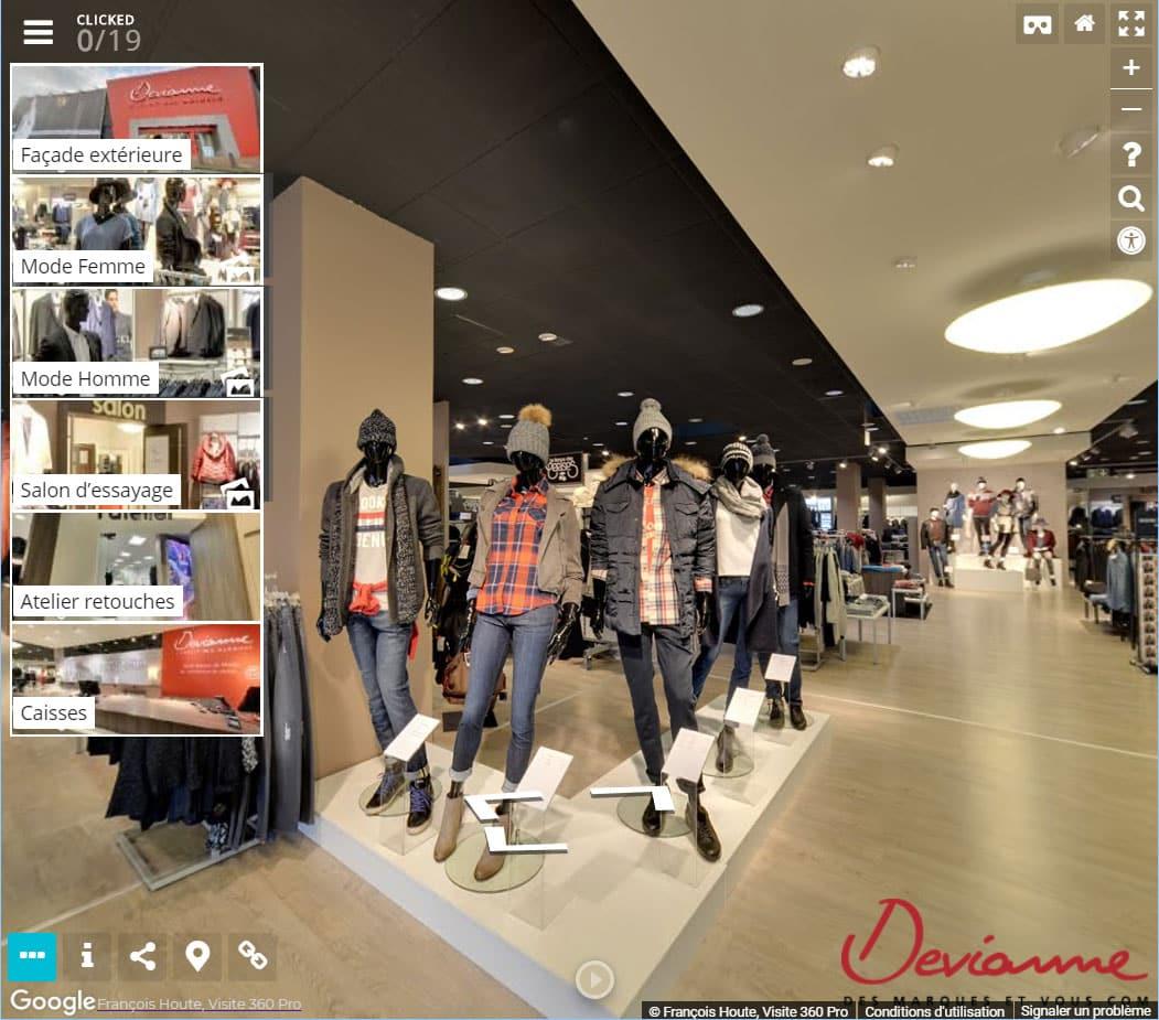 Street View enrichi interface et menu Visite 360 Pro
