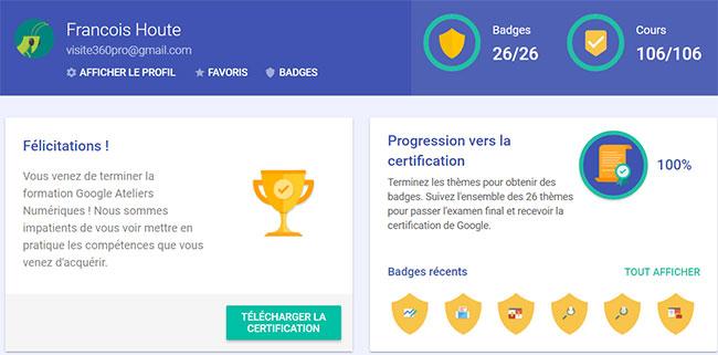 certification Google achevée